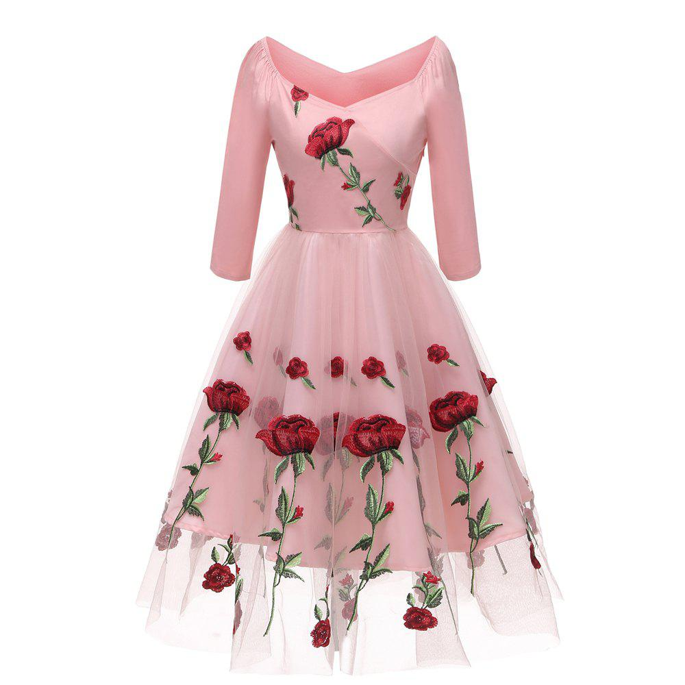 New Embroidered Rose Lace Gauze Seven Point Sleeve Dress