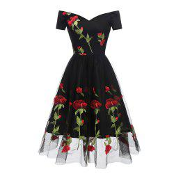 Ladies Rose Embroidery Lace Evening Dress -