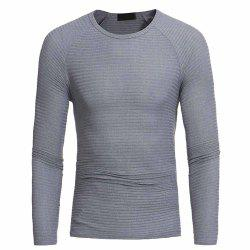 Men's Fashion Round Neck Horizontal Stripes Stretch Casual Slim Sweater -
