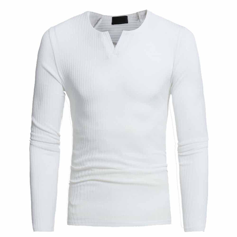 Discount Men's Fashion V-Neck Striped Stretch Knit Casual Slim Long-Sleeved Sweater