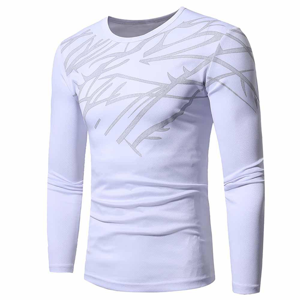Outfit Men's Fashion Breathable Mesh Print Casual Slim Long-Sleeved Round Neck T-Shirt