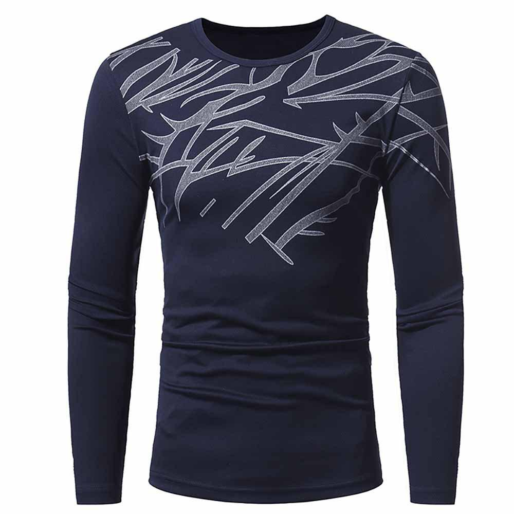 New Men's Fashion Breathable Mesh Print Casual Slim Long-Sleeved Round Neck T-Shirt