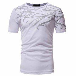 Men's Fashion High Quality Print Design Casual Slim Short-Sleeved Round Neck T-S -