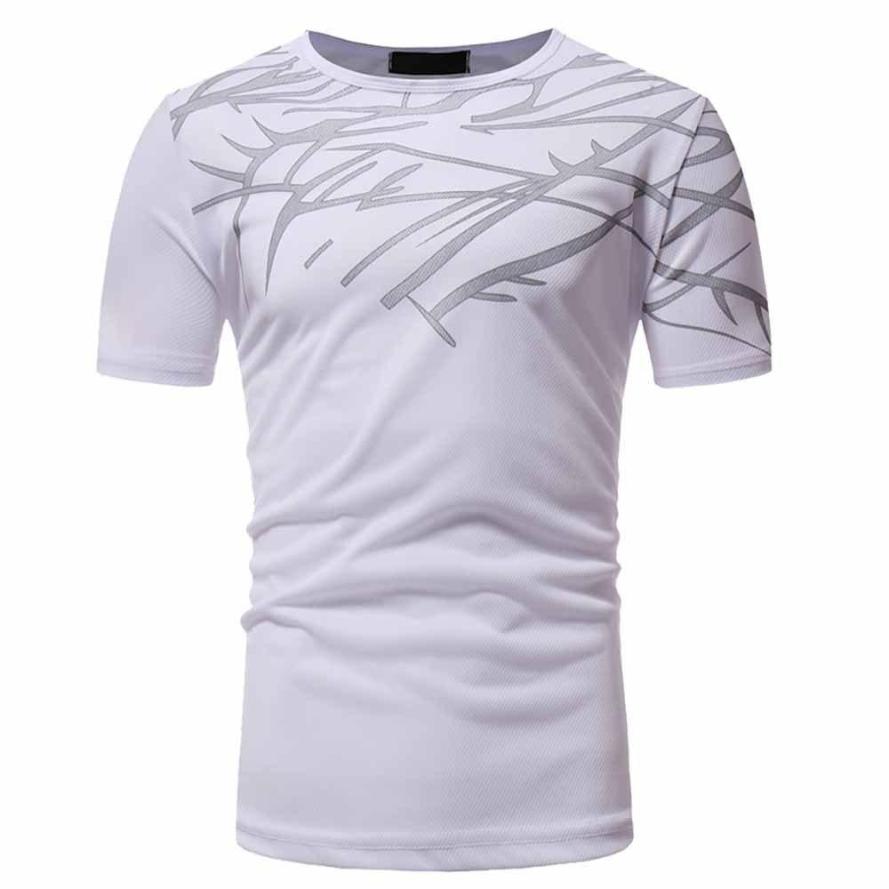 Best Men's Fashion High Quality Print Design Casual Slim Short-Sleeved Round Neck T-S