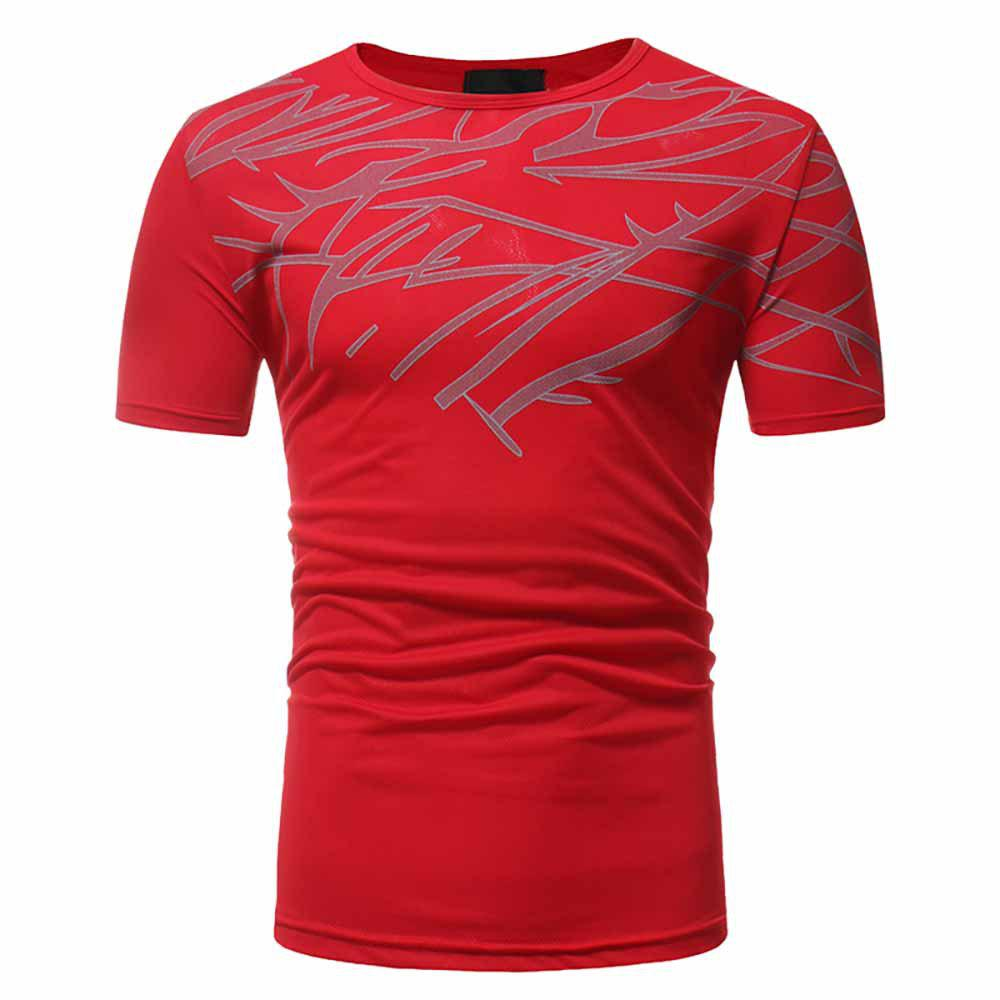 Outfits Men's Fashion High Quality Print Design Casual Slim Short-Sleeved Round Neck T-S