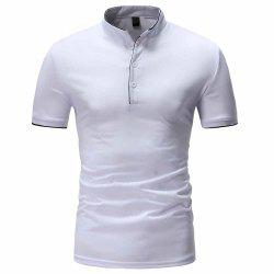 Men's Fashion Clips Edging Solid Color Casual Short-Sleeved Stand Collar T-Shirt -