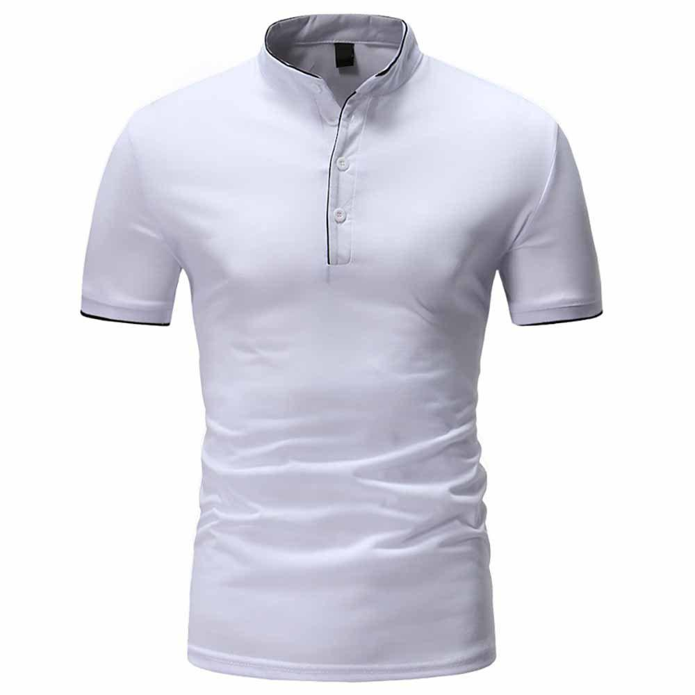 Latest Men's Fashion Clips Edging Solid Color Casual Short-Sleeved Stand Collar T-Shirt