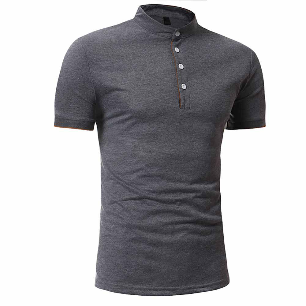 Buy Men's Fashion Clips Edging Solid Color Casual Short-Sleeved Stand Collar T-Shirt