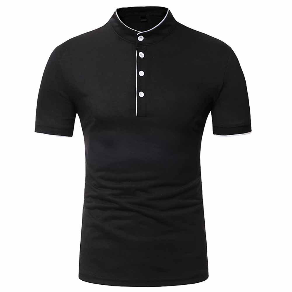 Fashion Men's Fashion Clips Edging Solid Color Casual Short-Sleeved Stand Collar T-Shirt