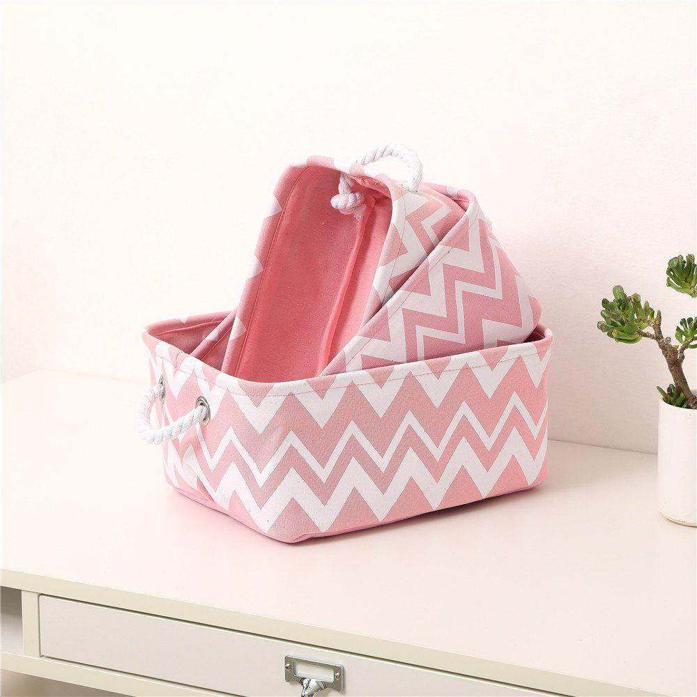 New Storage Box Fresh Style Pink Striped Pattern Toys Desk Organizer