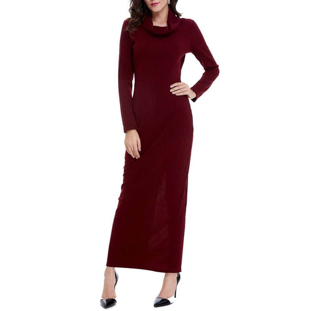 Cheap Women's Solid Colod Long Sleeve Turtleneck Knitwear Ankle Length Casual Dress