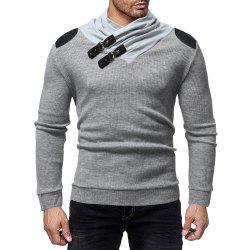 Men's Fashion Solid Color Pile Collar Casual Slim Sweater -