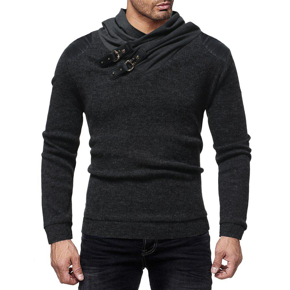 Buy Men's Fashion Solid Color Pile Collar Casual Slim Sweater