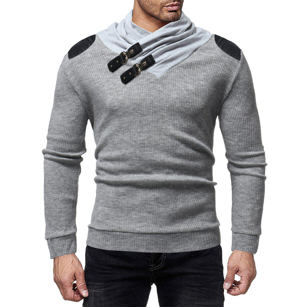 Sale Men's Fashion Solid Color Pile Collar Casual Slim Sweater