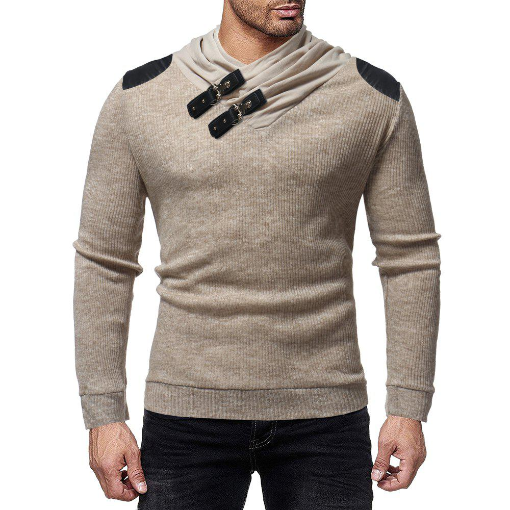 Cheap Men's Fashion Solid Color Pile Collar Casual Slim Sweater