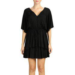 SBETRO Pleated Mini Dress Deep V Neck Black Dress with Drawstring -