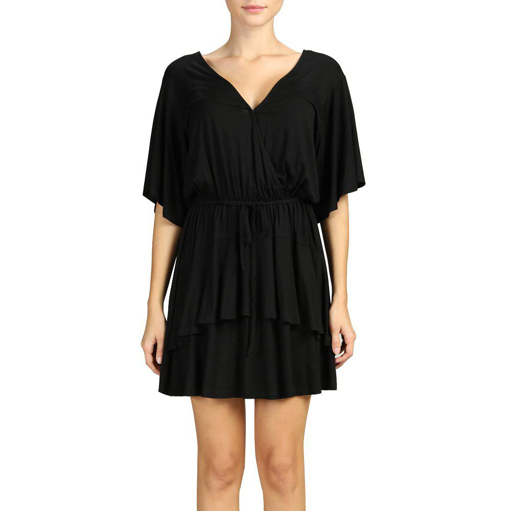 Buy SBETRO Pleated Mini Dress Deep V Neck Black Dress with Drawstring