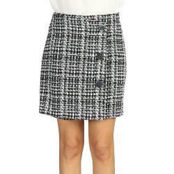 SBETRO Mini Striped Skirt Office Lady Single Breasted -
