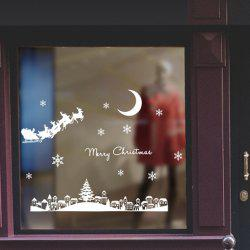 Noël Nouvel An Décoration Stickers Muraux Santa Moonlight Town Shop Town -