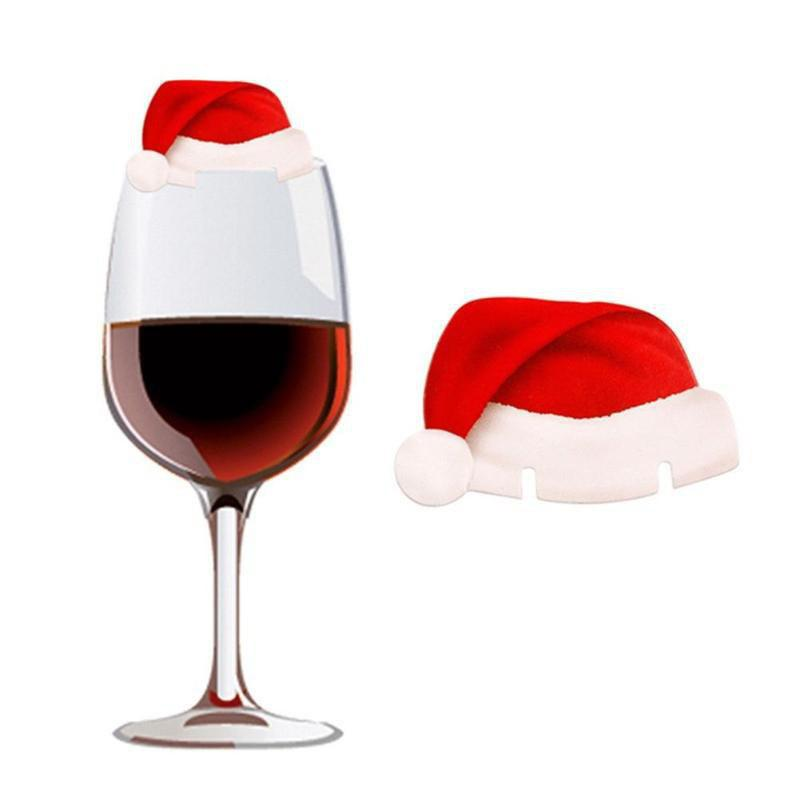 YEDUO 10Pcs Table Place Cards Christmas Santa Hat Wine Glass Decoration
