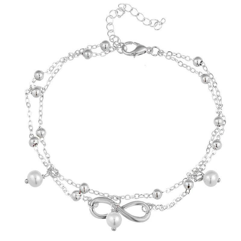 Online Fashion Trend Bohemia Wind Lady Eight Characters Pendant Double-Layer Anklet