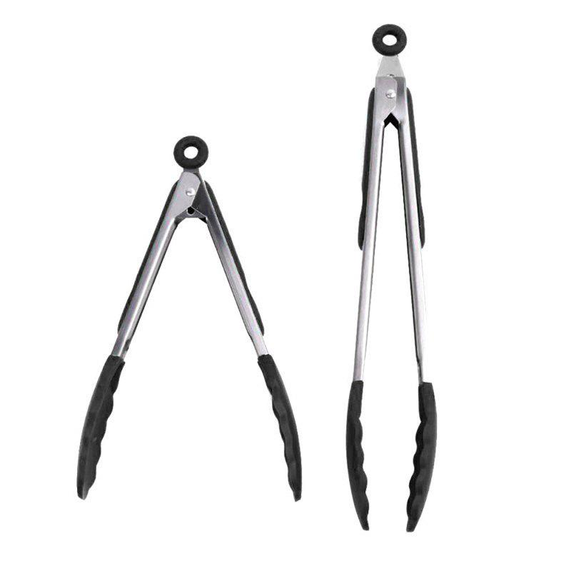 Online 2PCS Silicone Food Tongs Set Anti-Slip Cooking Barbecue Tong Clip Kitchen Tool