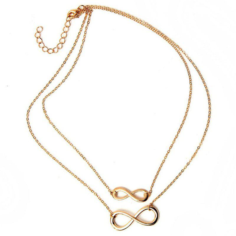 Shops Fashion Ladies Digital Eight Character Pendant Double-Layer Necklace