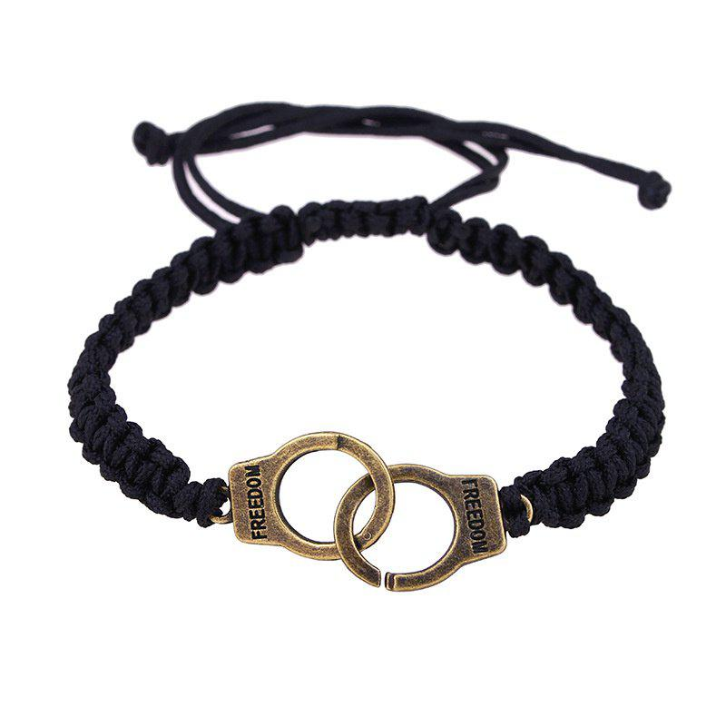 Online Fashion Personality Men's Handcuffs Pendant Woven Bracelet