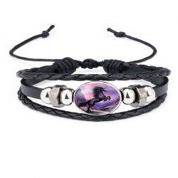 Fashion Personality Men's Unicorn Pattern Adjustable Woven Leather Bracelet -