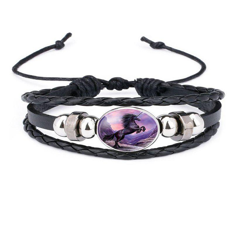 Outfits Fashion Personality Men's Unicorn Pattern Adjustable Woven Leather Bracelet
