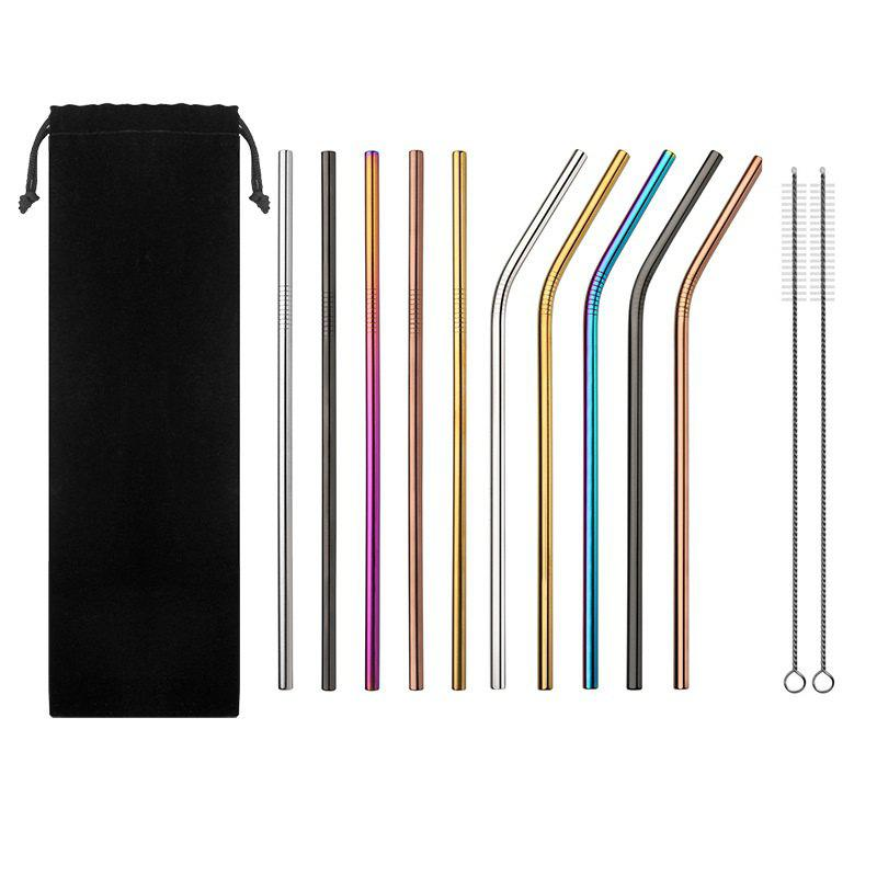 Fashion 10Pcs Colorful Stainless Steel Straws Reusable Drinking Straw with Cleaner Brush