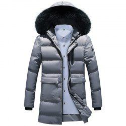 Men Quilted  Solid Color Hooded Plush Fashionable Casual Coat -