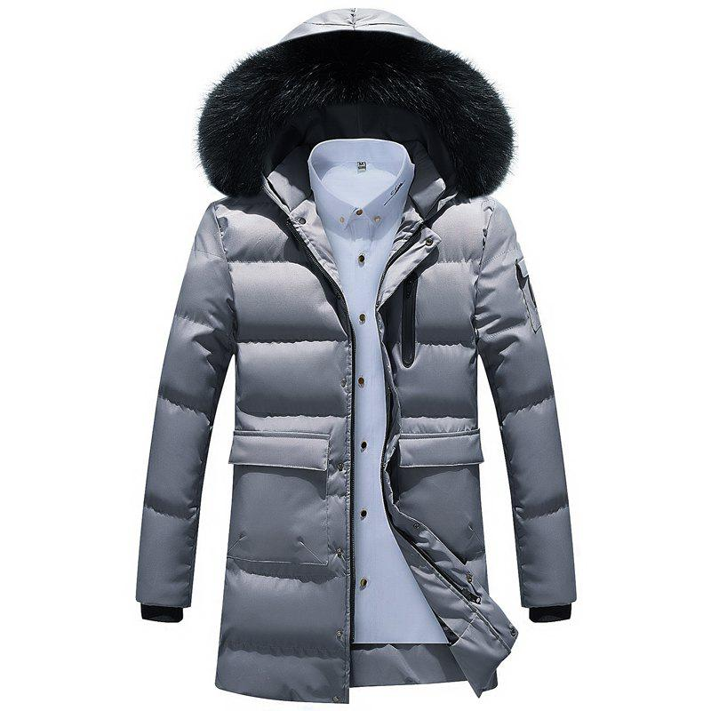 Cheap Men Quilted  Solid Color Hooded Plush Fashionable Casual Coat