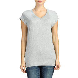 SBETRO Basic Knit Tee Top V Neck Slim Casual Cap Short Sleeve Autumn Winter -