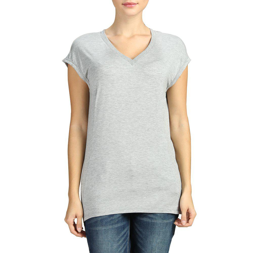 Sale SBETRO Basic Knit Tee Top V Neck Slim Casual Cap Short Sleeve Autumn Winter