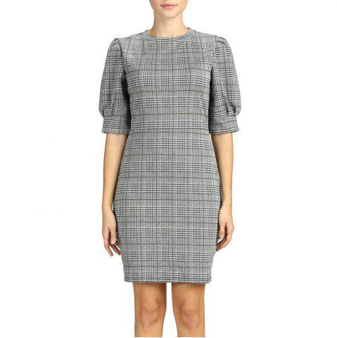SBETRO Dress Plaid Crewneck Fitted Short Puff Sleeve Office Lady Wear