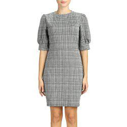 SBETRO Dress Plaid Crewneck Fitted Short Puff Sleeve Office Lady Wear -