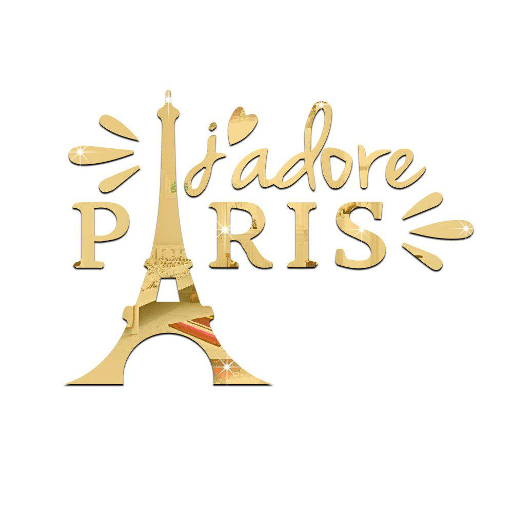 Gold 52*38*0.3cm 18 Pieces Mirror Wall Of The Eiffel Tower Living ...