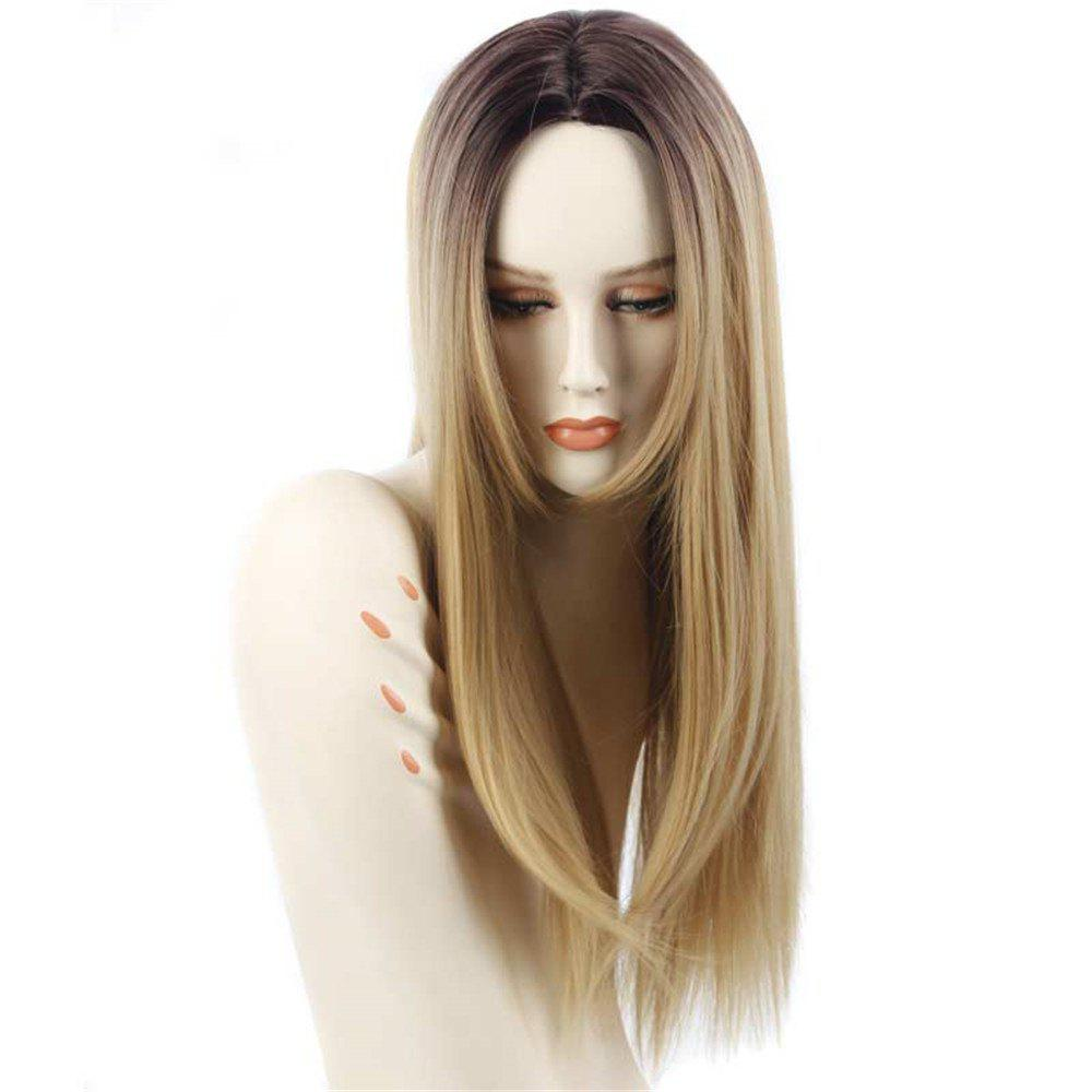 New Women Synthetic Wig Straight Ombre Blonde Heat Resistant Daily Wigs