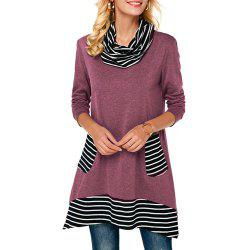 Long Stripes in A High-Necked T-Shirt -