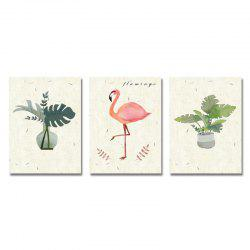 DYC 3PCS Lovely Potted Plants Flamingos Print Art -