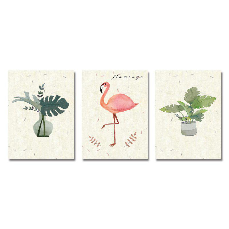 DYC 3PCS Lovely Potted Plants Flamingos Print Art