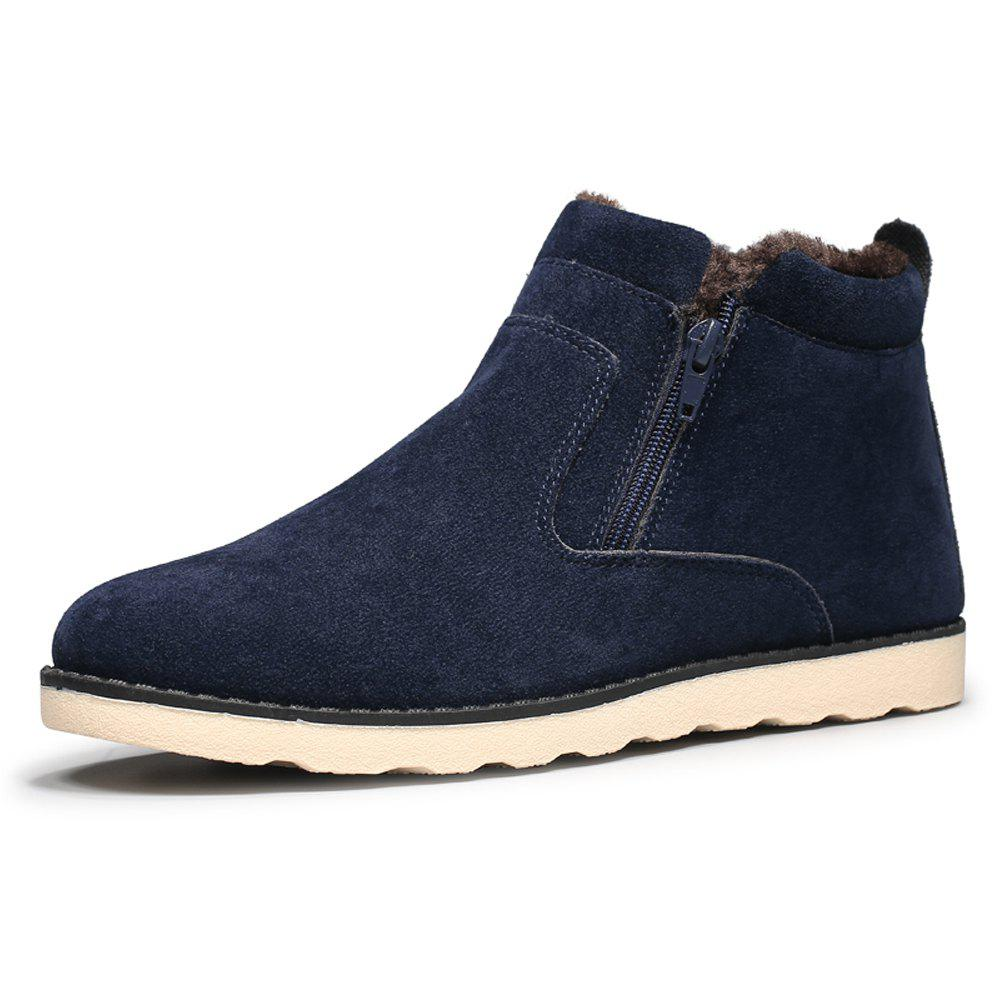 Affordable Men Solid Brief Winter High-Cut Cotton-Padded Flat Shoes