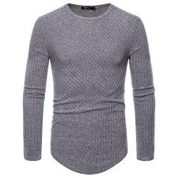 Man T - Shirt Round Collar Single Color Long Sleeves Sweater Bottoming Shirt -