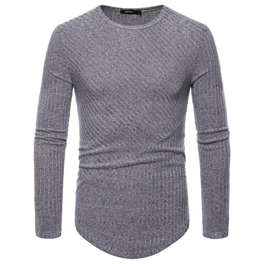 Store Man T - Shirt Round Collar Single Color Long Sleeves Sweater Bottoming Shirt