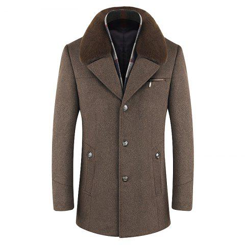 Men Trench Single Breasted Comfy Turn Down Collar Coat
