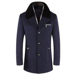 Men Trench Single Breasted Comfy Turn Down Collar Coat -