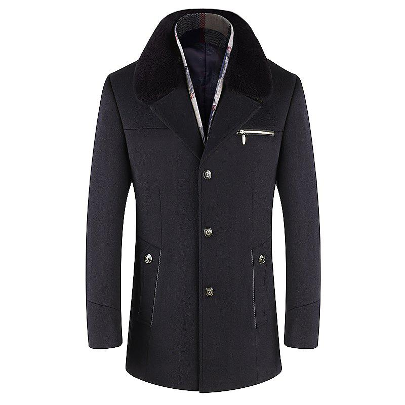Shops Men Trench Single Breasted Comfy Turn Down Collar Coat