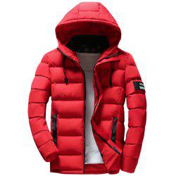 Men Quilted Coat Solid Color Casual Warm Hooded -