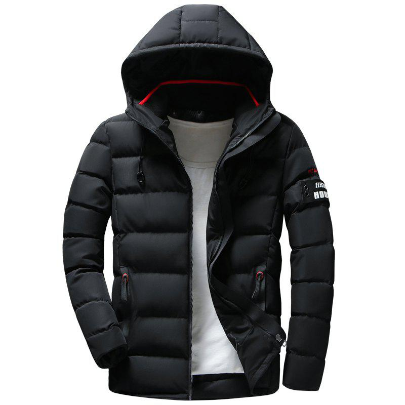 Sale Men Quilted Coat Solid Color Casual Warm Hooded